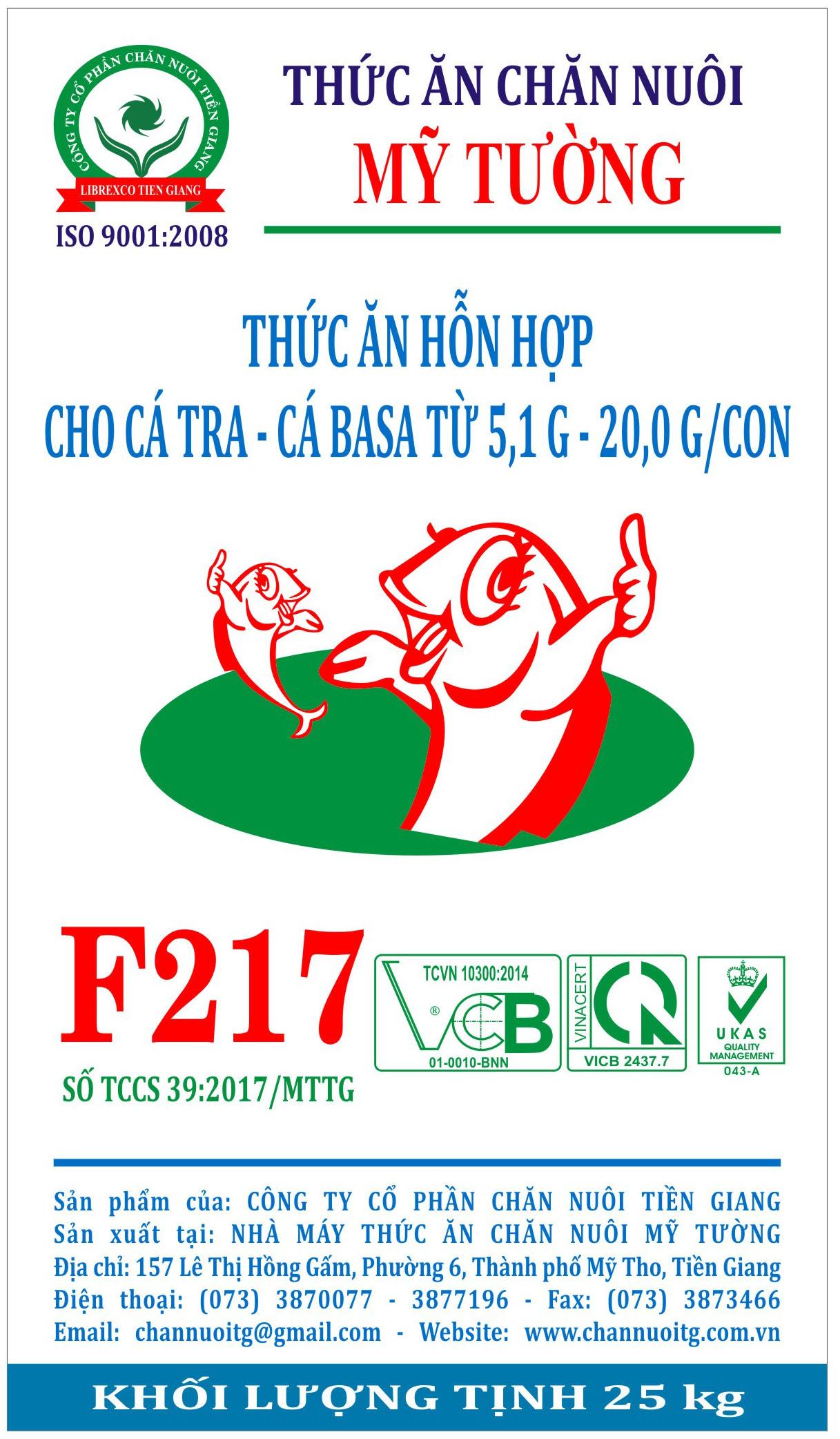 Thức ăn hỗn hợp cho cá tra - cá basa từ 5,1 G - 20,0 G/con (F217)