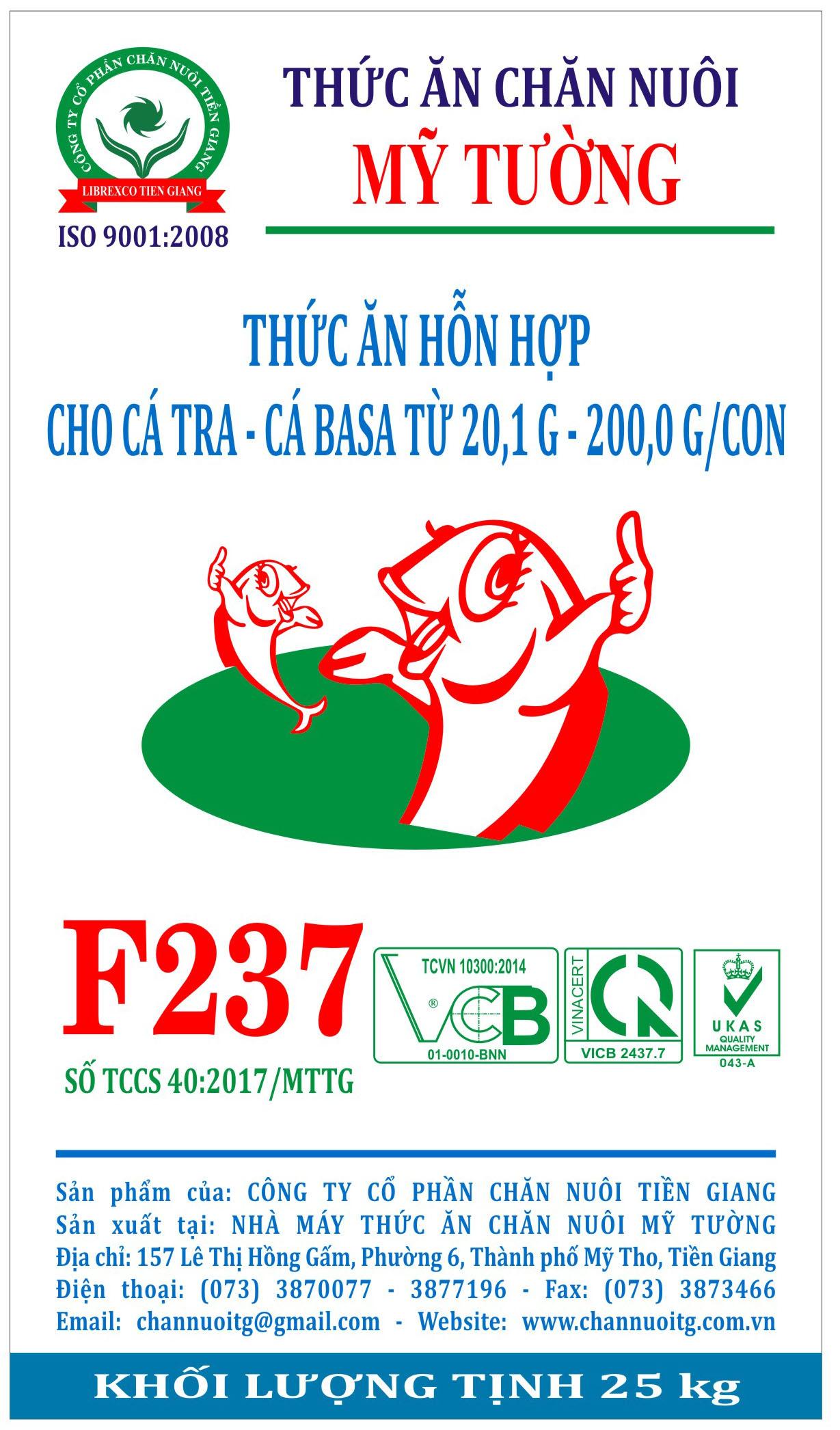 Thức ăn hỗn hợp cho cá tra - cá basa từ 20,1 G - 200,0 G/con (F237)